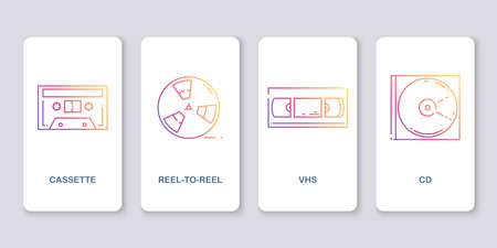 Icons of retro audio and video media. Cassette, reel,   CD. 矢量图像
