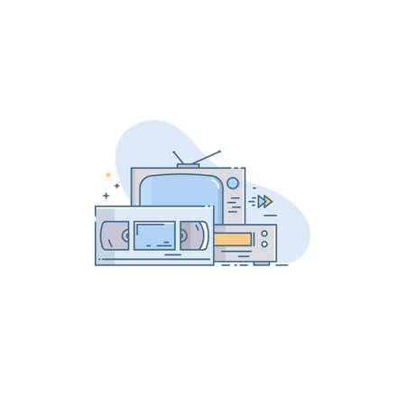 Retro video cassette, video cassette recording and TV. Conceptual vector illustration in linear flat style 免版税图像 - 145840118
