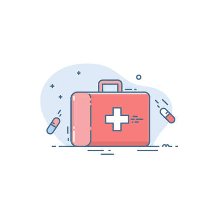 Medical bag icon. Red case in a linear flat style. Conceptual illustration of emergency medical care Illusztráció