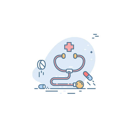 Stethoscope icon with red cross simulas and pills. Conceptual illustration of emergency medical care Illusztráció