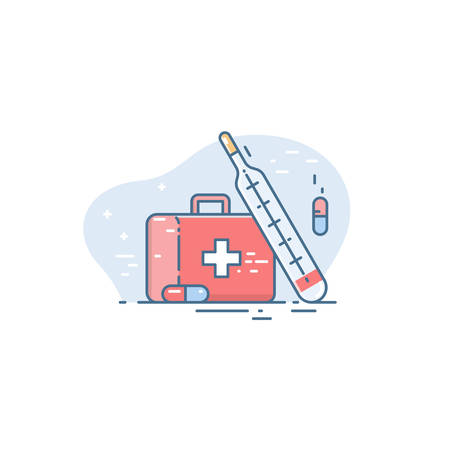 Icon of a medical case and a thermometer. Linear flat style. Conceptual illustration of emergency medical care 免版税图像 - 145840043