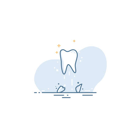 White tooth in a linear style on a blue background. Sick tooth roots. Dental Health Care Concept 免版税图像 - 145840044