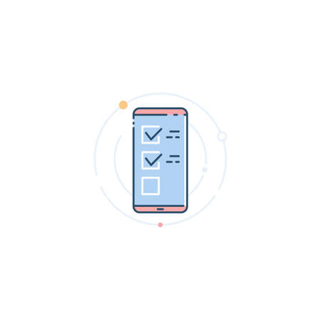 A smartphone with a list of tasks. Application for task management. Check list. Vector icon in a linear flat style. Illusztráció