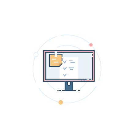 Monitor with a sticker on it. Checklist on the monitor screen. Reminder sticker. Icon for task management. Vector illustration in a flat linear style. Illusztráció