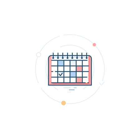 Desk calendar with marked dates and tasks. Time and task management. Icon in a flat linear style. Illusztráció