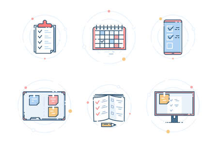 Icons for task management. Ways to control tasks: checklist, notepad, smartphone, program, calendar, kanban board. Vector flat linear illustration. 免版税图像 - 145714831