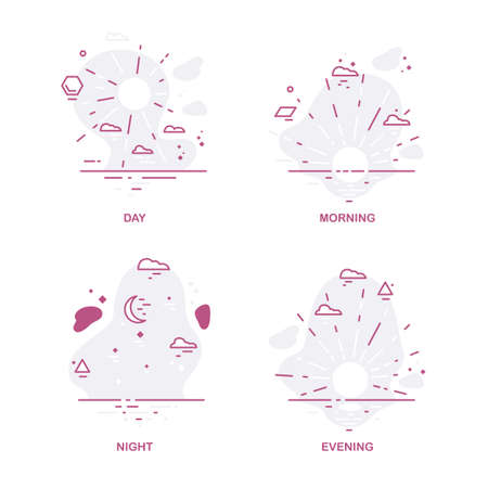 Times of day icon set. Line style hand drawn. 矢量图像