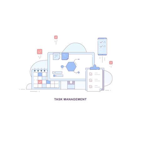 Icons for task management. Ways to control tasks: checklist, smartphone, program, calendar. Vector flat linear illustration. 免版税图像 - 145840045