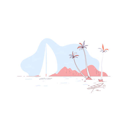 Tropical beach background with a sailing yacht at sea. Tropical beach and mountains. Holidays on the beach concept. Illustration about rest and vacation. Linear flat vector illustration. 免版税图像 - 147261884