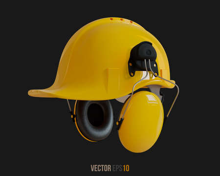 Isolated yellow hard hat with ear defenders. Realistic 3D Vector Illustration. 免版税图像 - 147026360