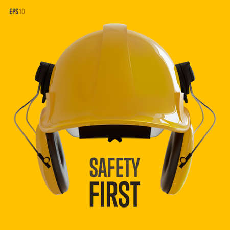 Isolated yellow hard hat with ear defenders. Realistic 3D Vector Illustration. 免版税图像 - 147383959