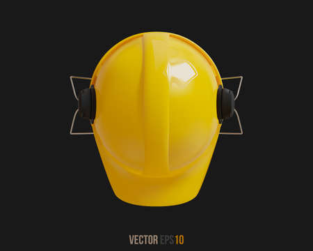 Isolated yellow hard hat with ear defenders. Realistic 3D Vector Illustration Imagens - 147545378