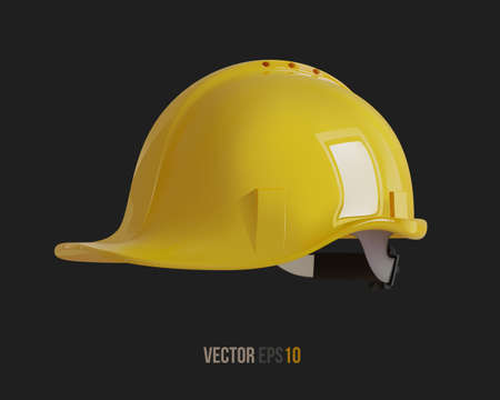 Isolated yellow hard hat. Realistic 3D Vector Illustration 免版税图像 - 147570952