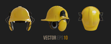 Set of Isolated yellow hard hats with ear defenders. Realistic 3D Vector Imagens - 147677600