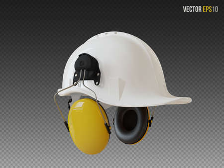 Isolated white hard hat with ear defenders. Realistic 3D Vector Illustration 免版税图像 - 147671445