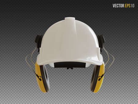 Isolated white hard hat with yellow ear defenders. Realistic 3D Vector Illustration. Illusztráció