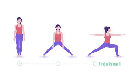 Yoga pose. Virabhadrasana. Exercise step by step 矢量图像