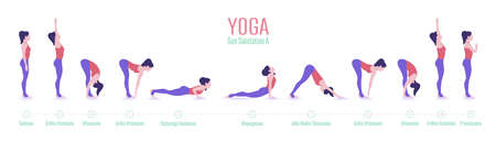 Set of yoga poses. Woman doing exercises of Sun Salutation. 免版税图像 - 149805827