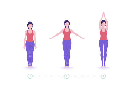 Yoga pose. Home workouts. Exercise step by step. Vector. 免版税图像 - 149416446