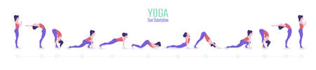 Set of yoga poses. Woman doing exercises of Sun Salutation. Imagens - 149805829