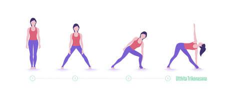 Yoga pose. Extended Triangle Pose-Utthita Trikonasana. Exercise step by step Illustration