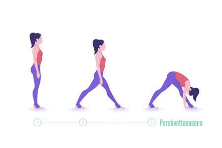 Yoga pose. Parshvottanasana. Exercise step by step 矢量图像
