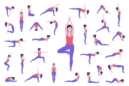 Set of yoga poses. Woman doing asanas. Vector 矢量图像