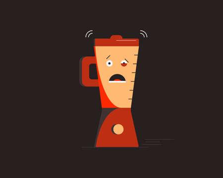 Blender is shocked. Small household appliances character. Vector illustration. 向量圖像