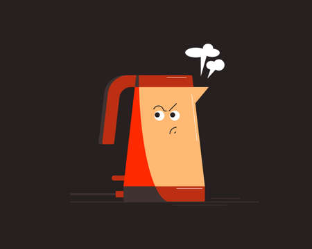 Electric kettle. Small household appliances character. Vector illustration. 矢量图像