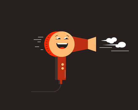 Happy Hairdryer. Small household appliances character. Vector illustration 向量圖像