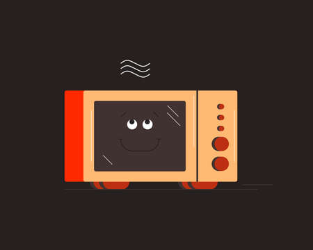 Microwave. Small household appliances character. Vector illustration.