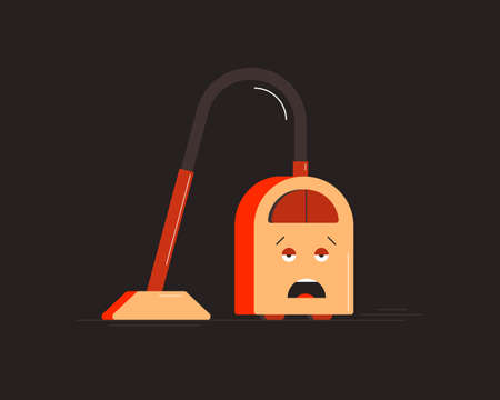 Tired Vacuum Cleaner. Small household appliances character. Vector illustration