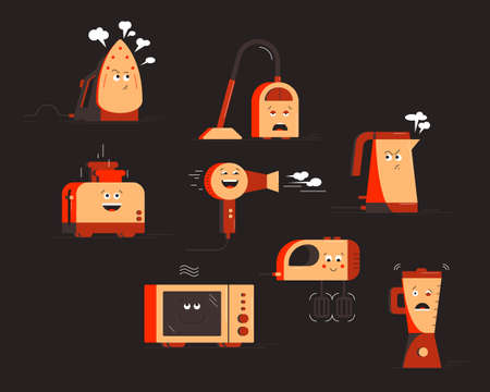 Set of household appliances characters. Vector illustration