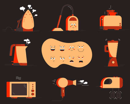 Small household appliances set. Character constructor. Vector illustration 向量圖像