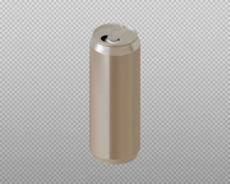 Realistic aluminum can. Metallic can for drinks. Open can. Vector