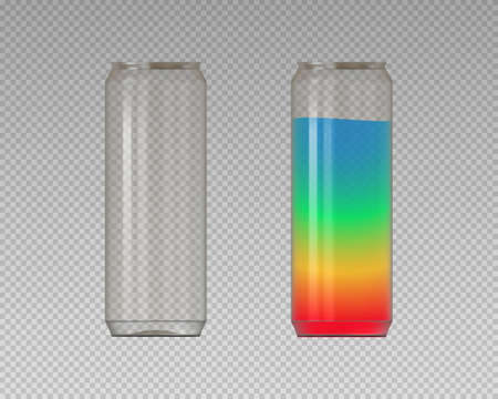 Realistic plastic cans. PET cans for coctails. Vector Imagens