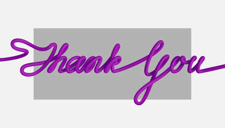 3D text - Thank You. One line drawing of phrase. Vector illustration