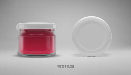 Small glass jam jar with a lid. Realistic 3D illustration. Vector