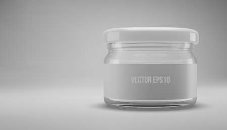Small glass jam jar with a lid. A transparent jar with a white lid and label. Realistic 3D illustration. Vector Imagens
