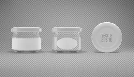 Set of small glass jam jar with a lid. A transparent jar with a white lid and labels. Realistic 3D illustration. Vector Imagens