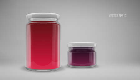 A set of big and small glass jam jars with lids. Realistic 3D illustration. Vector