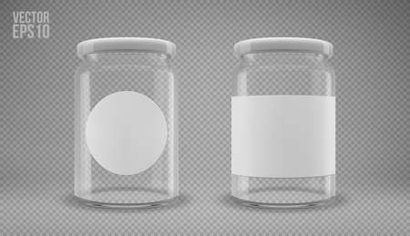A set of glass jam jars with lids. A transparent jar with a white lid and labels. Realistic 3D illustration. Vector Imagens - 163920711