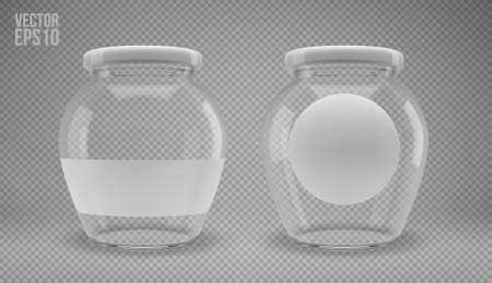 A set of glass jam jars with lids. A transparent jar with a white lid and labels. Realistic 3D illustration. Vector Imagens