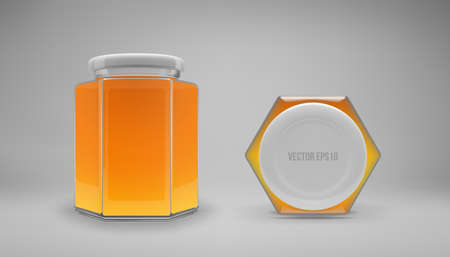 Hexagon glass honey jar with a lid. Realistic 3D illustration. Vector