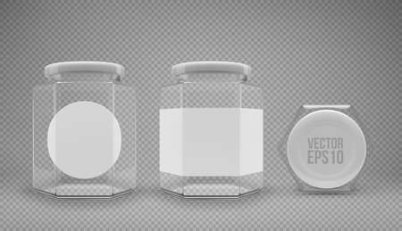 A set of hexagon glass jars with lids. A transparent jar with a white lid and labels. Realistic 3D illustration. Vector