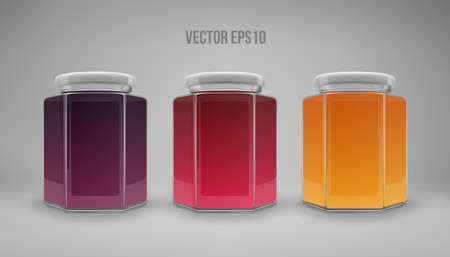 A set of hexagon glass jars with lids. A transparent jar with a white lid and labels. Realistic 3D illustration. Vector Imagens - 164104892