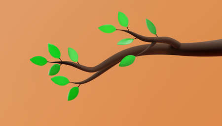 Tree branch with green leaves in cartoon style. 3D illustration. Vector.