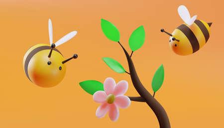Blossom tree branch. Sweet little bees flying. 3D illustration. Vector.