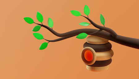 A beehive hanging on a branch with green leaves. 3D illustration. Vector.