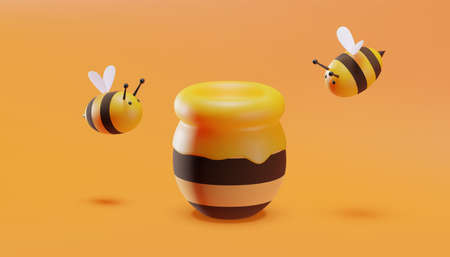Sweet little bees flying around a pot of honey. 3D illustration. Vector.